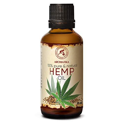 Huile de Chanvre - 50 ml - Cannabis Sativa - Pressée à Froid - Huile de Graines de Chanvre - Huile de Support - Soins du Visage - Huile pour la Peau - Huile pour le Corps - Huile de Bain