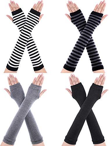 SATINIOR 4 Paar Lange Fingerlose Handschuhe Wärmer Daumenloch Ellenbogen Länge Handschuhe für Frauen (Farbe Set 1)