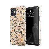 BURGA Funda para teléfono compatible con iPhone 12 Mini, diseño de flores de mármol de melocotón, flores de eucalipto, hojas de flores, vintage, diseño fino, duradero y resistente de plástico duro