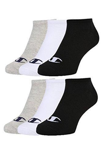 CHAMPION Unisex 6pk Sneaker Socken, Hellgrau/Weiß/Schwartz, 35-38