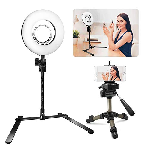 LimoStudio 8 Inch Ring Light with Stand, Mirror and Portable Tripod