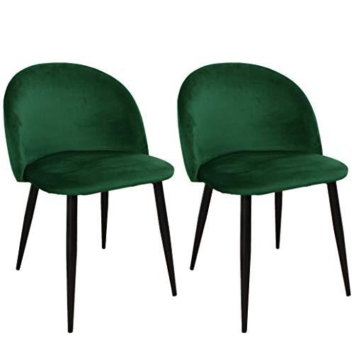 Nimara - Juego de 2 Sillas de Terciopelo en diseño escandinavo, sillas de Comedor y sillas de Cocina para la Mesa de Comedor
