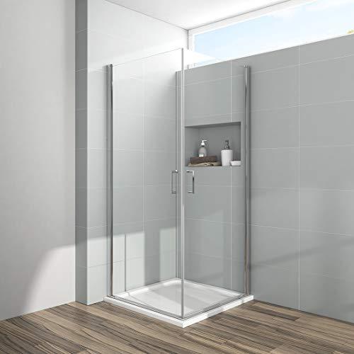 Duschkabine 90x90x195cm Eckeinstieg Duschabtrennung Dusche Doppel Pendeltür Duschtür Schwingtür Duschwand Beidseitiger Nano-Beschichtung