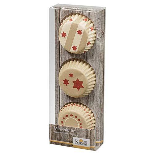 Birkmann 1010744010 Mini-Muffin-Papierförmchen, Little Christmas II, Kunststoff, Beige/Braun, 5 x 3 x 2 cm