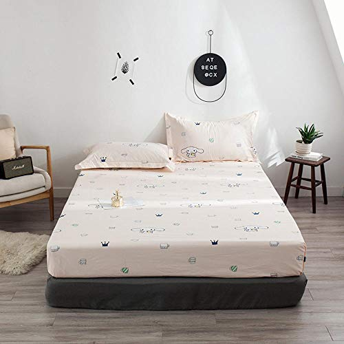 HPPSLT colchón Acolchado, antialérgico antiácaros, Sábana de algodón impresa-13_150 * 200cm