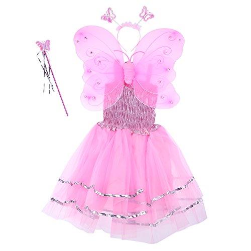 Fenical Mädchen Engel Fee Kostüme Dual-Layer Stirnband Zauberstab Kleid Set für Kinder Weihnachten Halloween Party Geschenk Set 4pcs (Pink)