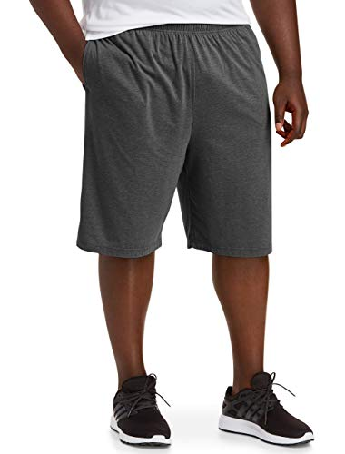Amazon Essentials Men's Big & Tall Performance Cotton Short, Charcoal Grey Heather, 3XL