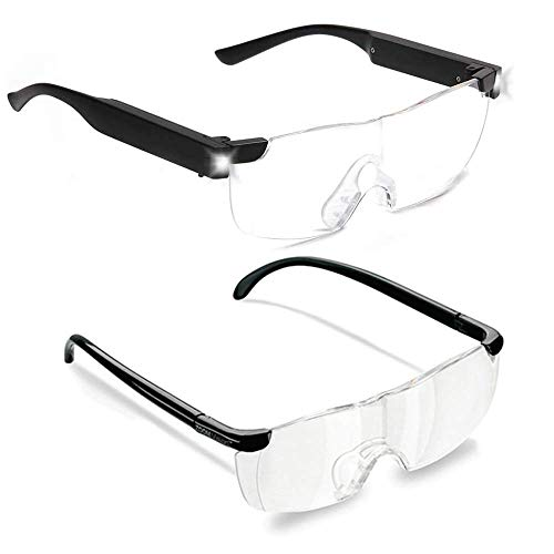 Zoom Vision Plus 160% Magnifying Glasses with LED lights for Men and Women, Non-Slip, Scratch Resistant - Great for Reading Small Prints, Labels, Prescription Bottles, Close Work and Crafts (2pc Set)