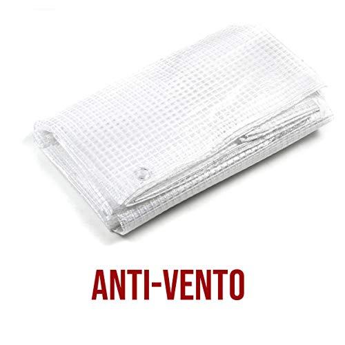 STI Telo Bianco Trasparente occhiellato retinato Antivento antistrappo Anti UV Misura 4x5 mt