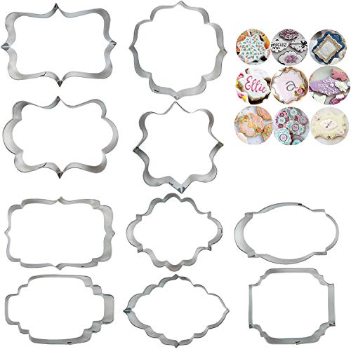 10 PCS Plaque Frame Cookie Cutters Set Different Frames Fondant Cutter Molds for Making Mousse Cake Cookies Biscuit, Fruit, Bread Wedding and Birthday Party Decorations