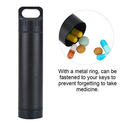 VGEBY Bouteille de Pilule Flacon à Médicament Boîte Conteneur Capsule Etanche en Aluminium Portable pour l'Extérieur Camping Pêche Randonnée (Couleur : Noir)