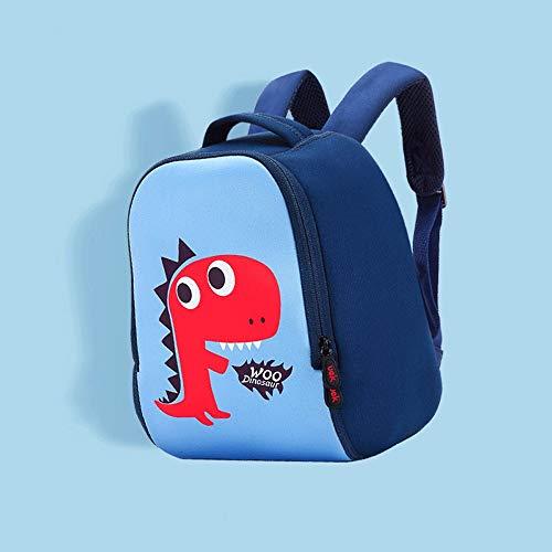 HTMAL Uek kleine schooltas kleuterschool jongen 2-3-6 jaar oud dinosaurus tas baby jongen mini rugzak rugzak stereo lichtgewicht antislip gesp ontwerp ademende mesh L Blauw
