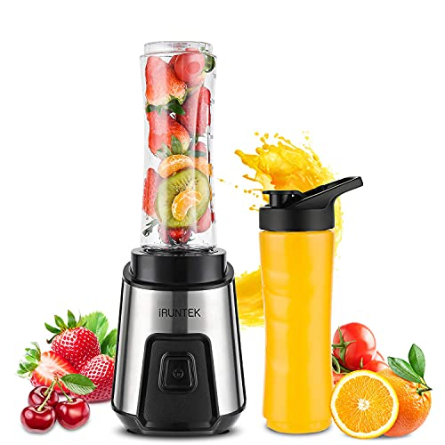 iRUNTEK Personal Blender for Shakes and Smoothies, Small Countertop Blender for Kitchen, Food Processer for juice, jam, milkshake with 250 -Watt Stainless Steel Base and 20-Ounce BPA Free Tritan Cup (Renewed)