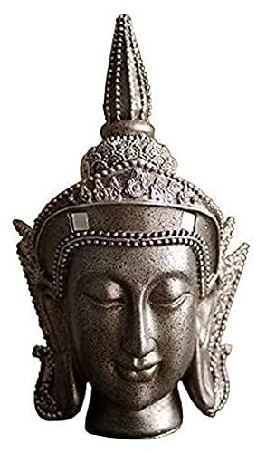 WSJF Decoración del hogar Ornamento Estatua Estatuilla Decoración Zen Escultura Buda Estatua de la Cabeza, Buddhism Believer Resin Craft Gifts