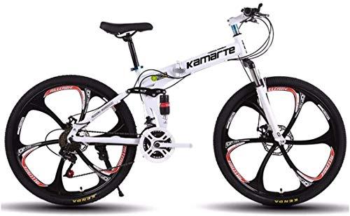 XinQing-Bicicleta Bici de montaña Plegable de Bicicletas de 26 Pulgadas 21 Velocidad de Choque Frenos de Disco Doble Adulto Asalto Student for Bicicleta Plegable de Coches (Color : White)