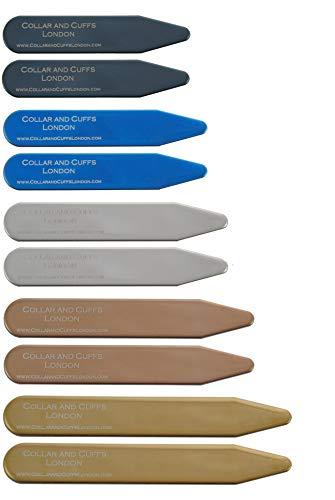 """COLLAR AND CUFFS LONDON - 10 Ballenas Camisas - 5 COLORES - 5 TAMAÑOS - De Gran Calidad - 2"""" 2.2"""" 2.35"""" 2.5"""" 2.8"""" - Metal - Color Plateado Negro Oro Azul Oro Rosa - Con Caja de Plástico - 5 Pares"""