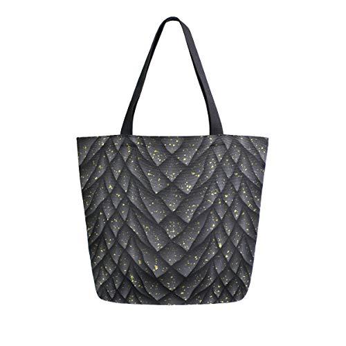 ZZKKO Animal Dragon Canvas Tote Lebensmitteltasche Schulter Casual Book Bag Large für Frauen Lehrer Drache Waage Baumwolle Tasche Einkaufstasche Handtasche Mehrzweck-Einsatz