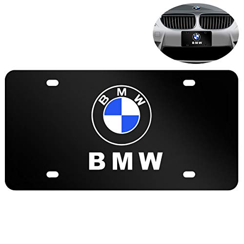 Newest Heavy Type Stainless Steel License Plate Cover for BMW,Protect and Personalize Your BMW License Plate Frame (Black), Screws Included
