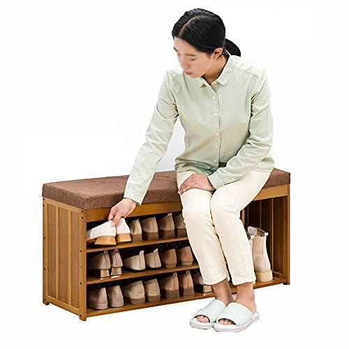 LOHOX Banco para Zapatos de Bambú, Zapatero de 3 Pisos, Organizador de Zapatos Estable para la Entrada 2 Compartimentos Ocultos Asiento de con Capacidad de 150 kg - 90/100X30X48CM