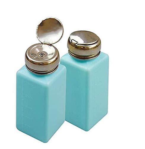 Amandaus Lot de 2 distributeurs de liquide en métal à une touche pour dissolvant d'alcool et de vernis à ongles Bleu clair