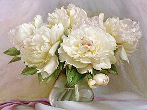 QGHMV DIY 5D Diamond Painting by Number Kits Beautiful Peony Flowers in Vase Round Full Drill Embroidery Arts Craft Canvas Supply for Home Wall Decor(16X20inch)