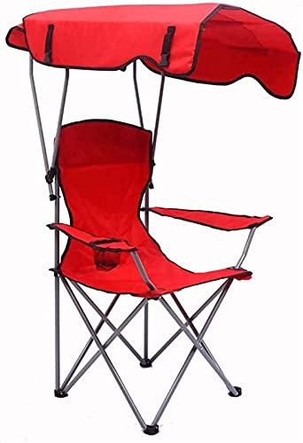 QHCS Sedie a Sdraio da Giardino Sedia Pieghevole da Campeggio con Sedia a baldacchino Parasole, Sedia a Sdraio Pieghevole da Campeggio per Spiaggia all'aperto, Parco, Viaggio Portatile (Colore: r
