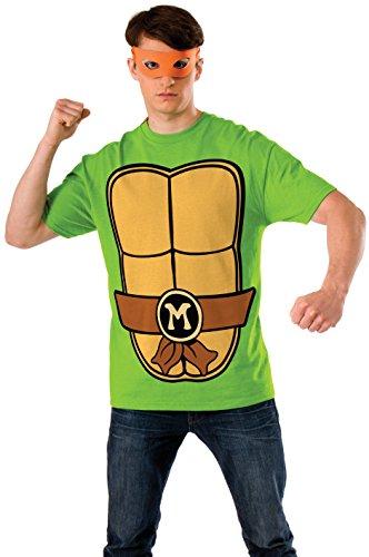 Nickelodeon Ninja Turtles Shirt With Mask and Michelangelo, Green, x-large