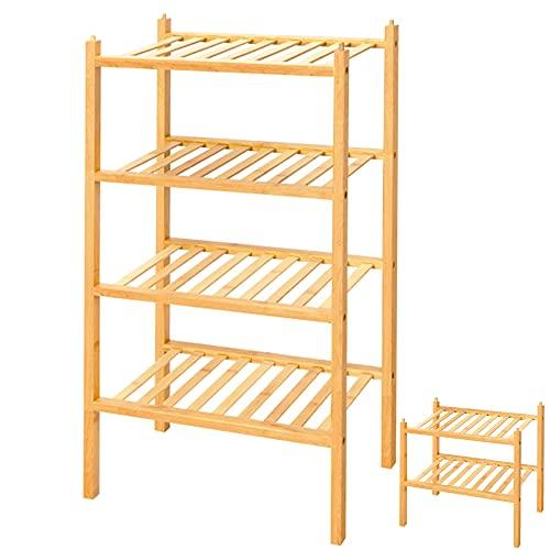 4 Tier Shoe Rack,100% Natural Bamboo Wooden Shoe Rack,Stackable Shoe Rack,Narrow Shoe Rack Organizer,Entryway Shoe Rack,Small Shoe Rack Wood,Shoe Racks for Closets,Shoes Rack,Shoe Stand (Natural)