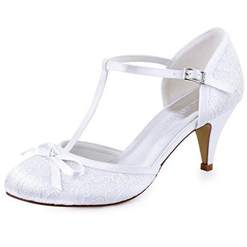 Elegantpark HC1721 Femmes Bout fermé Talons Aiguilles Escarpins T-Strap Boucle Arc Dentelle Chaussures de mariée de Mariage Blanc EU 35