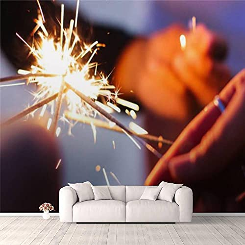 Modern 3D Sparklers in Group of Friends' Hands Wallpaper Stick and Peel Wall Stickers Removable Wall Paper Mural for Living Room Bedroom TV Background Wall