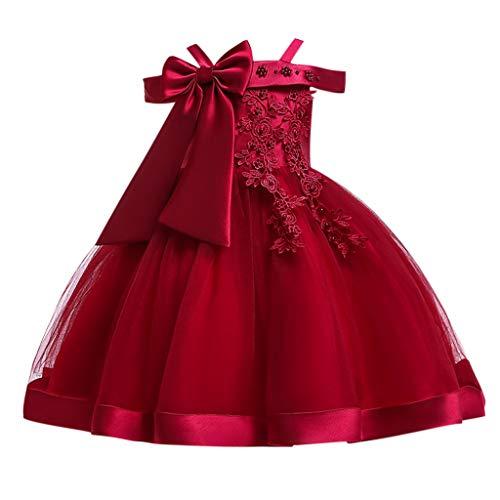 Snakell Kinderkleider Mädchen Kleider Tutu Tütü Tüll Kleid Brautjungfernkleid Mädchen Schleife Brautkleid Ärmelloses Kleid mit großen Schleifen und besticktem Sling für Kinder