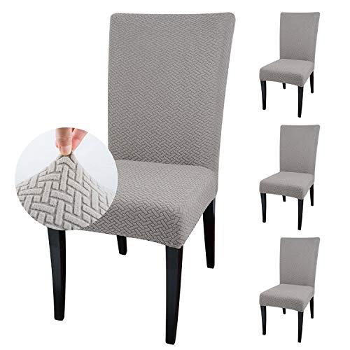 Qishare Stuhlhussen 4 Stück Stuhlbezug Abnehmbare Stretch Elastische Universal Waschbar Anti-Staub Parsons Stuhl Sitz Schutzhülle für Esszimmer, Hotel, Zeremonie, Hochzeit, Party(Taupe)