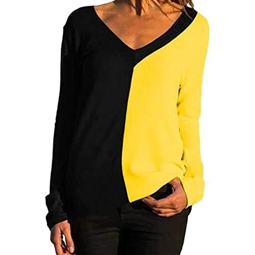 Gofodn Damen-Pullover, Übergröße, V-Ausschnitt, Patchwork, langärmelig Gr. X-Large, gelb