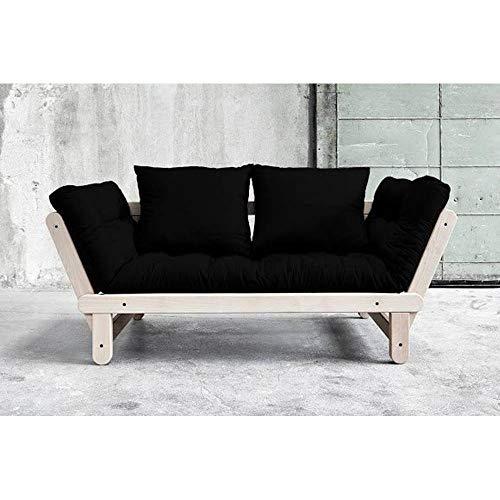 Banquette méridienne Convertible futon Noir Beat Beech Couchage 75 * 200cm