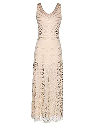1920s Long Maxi Prom Gowns Sequin Mermaid Bridesmaid Formal Evening Dress V Neck Back