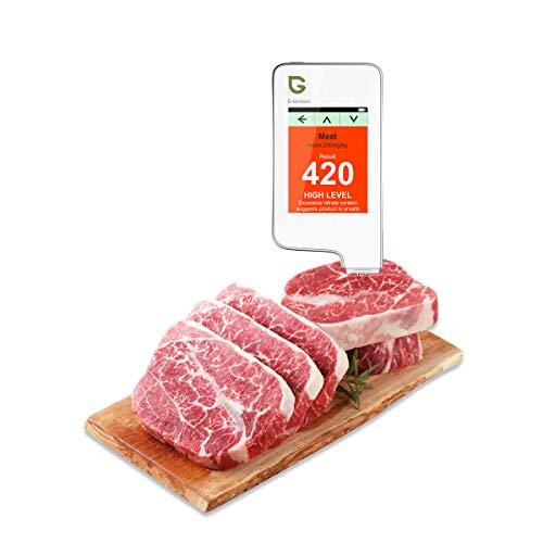 Greentest - Comprobador de nitrato de carne fresca digital de lectura instantánea, fruta, vegetal, y medidor para alimentos (blanco)