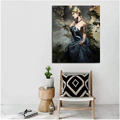 KBIASD Belleza Chica Arte Cartel impresión habitación decoración Pared Arte Imagen Colorear Lienzo Pintura para decoración del hogar Regalo único-40x50 cm sin Marco