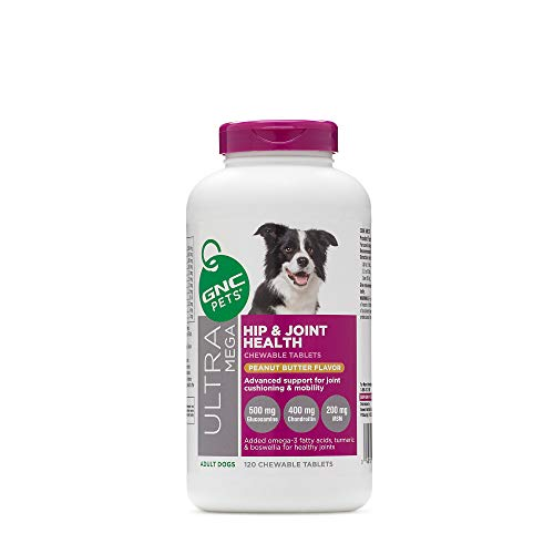 GNC Pets Ultra Mega Hip and Joint Health Peanut Butter Flavor 120 Chewable Tablets for Adult Dog, 120 g