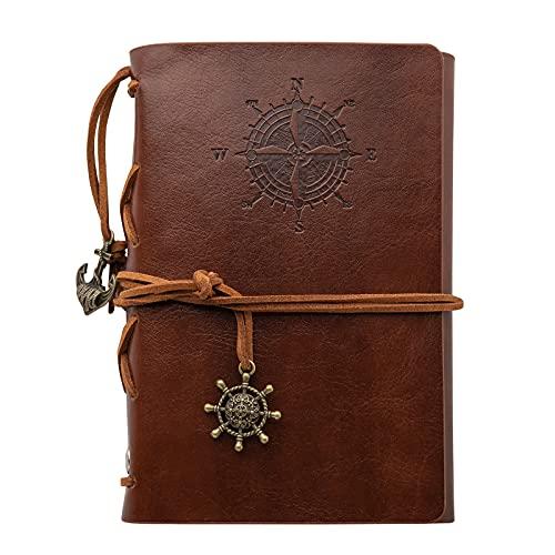 KIMI-HOSI Cuaderno Diario con Funda de Cuero Vintage Cuaderno Piel Rellenable Hojas...