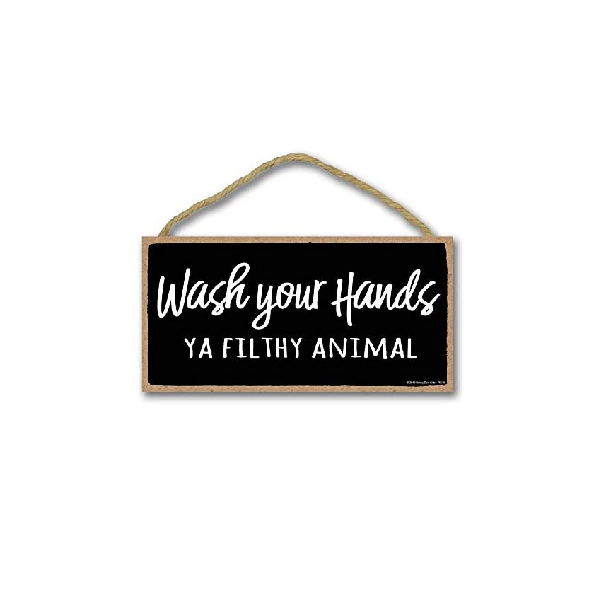 41hteQbXkZL. SS840  - Honey Dew Gifts Bathroom Sign, Wash Your Hands ya Filthy Animal 5 inch by 10 inch Hanging Wall Art, Decorative Funny…
