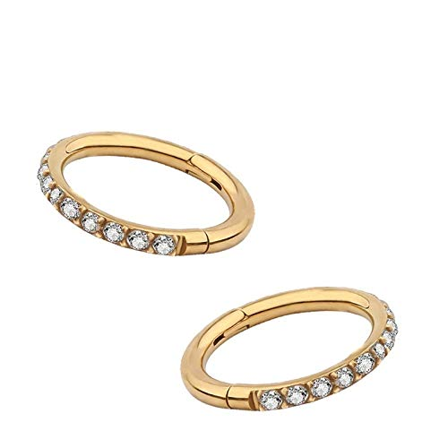 QHKS 316LSide Set Lined CZ Gold Color Nose Septum Clicker Segment Ring Piercing Ear Cartilage Helix Tragus Stud Jewelry (Main Stone Color : 16GX12mm)