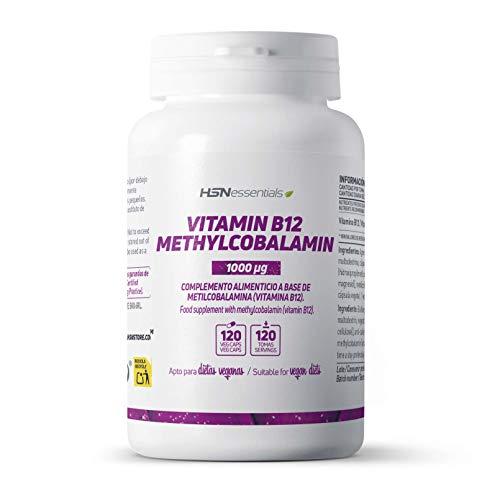 Vitamina B12 Metilcobalamina 1000mcg de HSN | Suplemento Necesario para Veganos | +Energía -Fatiga | Salud del Sistema Nervioso | Sin Gluten, Sin Lactosa, 120 Cápsulas Vegetales