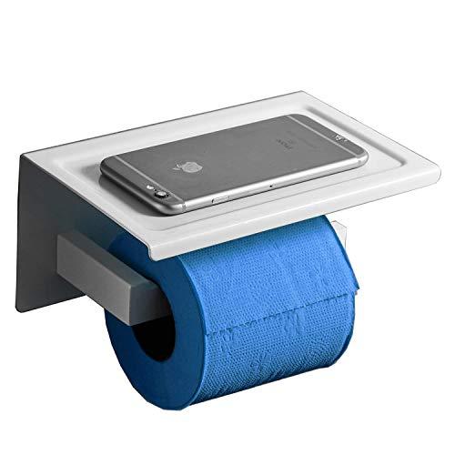 Toilettenpapierhalter aus rostfreiem Stahl Telefonregal, weiß lackiert, Schraube Wandhalterung Leekayer, YA18850W