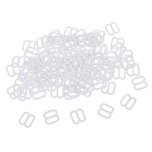 chiwanji 100Pcs Reggiseno in Metallo Regolatore Cursore 8 Ganci Anelli Artigianato da Cucire - Bianca, 6MM - Bianca, 6MM