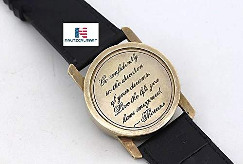 Montre bracelet Cadran solaire Brassard avec citation de Thoreau C'est Parti en toute Confiance par Nauticalmart
