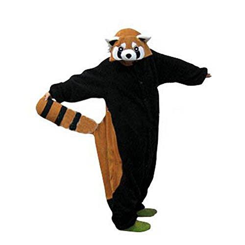 Anbelarui® Karneval Halloween Pyjamas Schlafanzug mit Kapuze Erwachsene Cosplay Kostüm (S(Körpergröße:145-155CM), Waschbär)