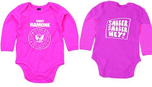 Baby Ramone Sabber Hey Body à Manches Longues en Coton Biologique Rose - Rose - 74