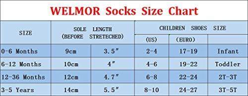 WELMOR Baby Toddlers Anti Skid Grip Ankle Socks for Infant Newborn Kids Boys Girls-6&12 Pack