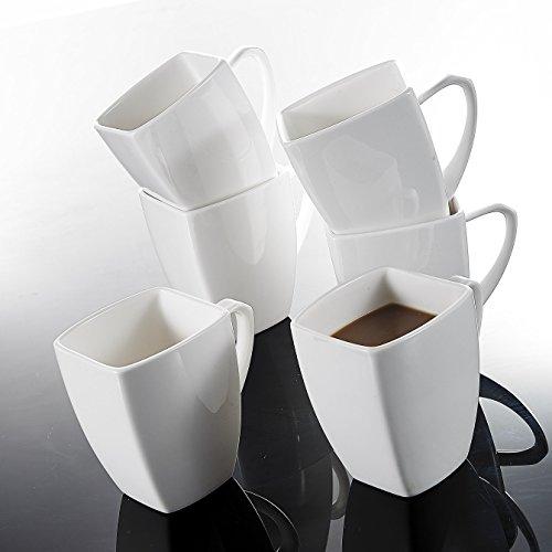 MALACASA, Serie Blance, 6 TLG. Set Kaffeeservice Porzellan 350ml Becher Bechersets Kaffeetasse Tassen 11,5x8x10,5cm