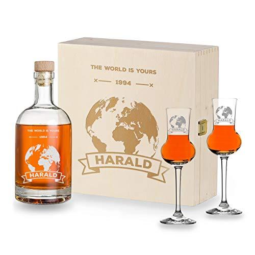 polar-effekt Juego de 4 vasos de licor de 87 ml, 1 botella de 700 ml y 1 caja de madera grabada | Hombre, papá, abuelo | Regalo de chupito | con grabado personalizado | Diseño de bola del mundo